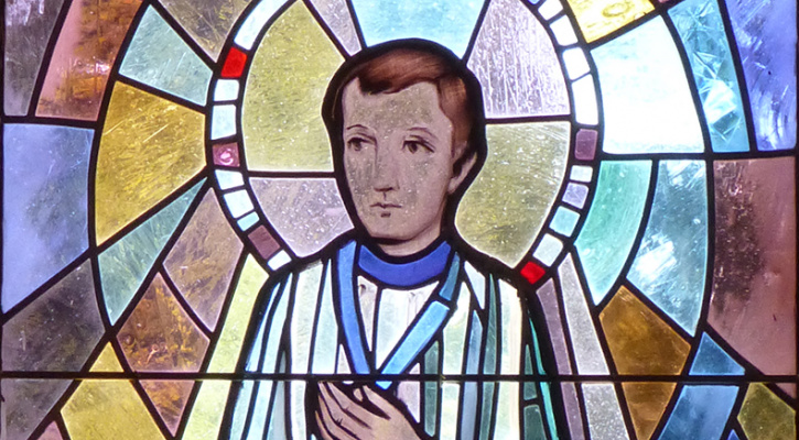 Stained glass of Saint Dominic Savio in the Fatima Chapel, Langen near Brekenz, Austria