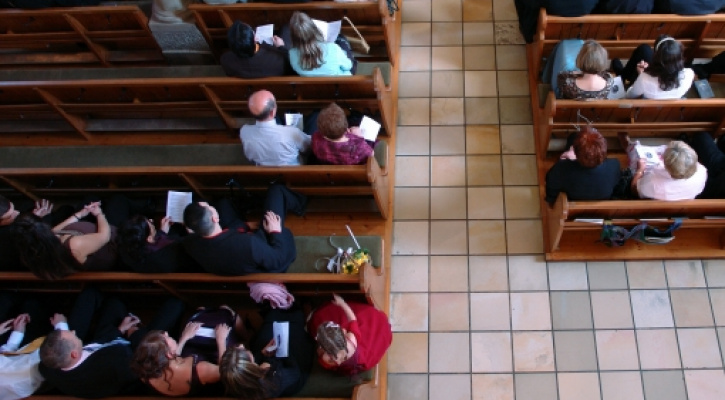 Overhead view of people sitting in church
